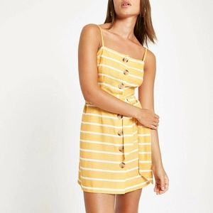 River Island Beach Dress UK 8 Stripe Button Front